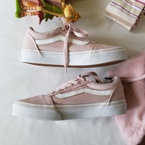 Vans Plush Pink Girls Lace Up Sneakers